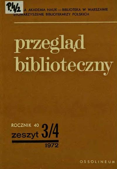 Przegląd Biblioteczny 1972, z. 3-4