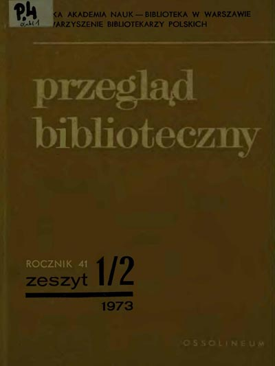 Okładka Przegląd Biblioteczny 1973, z. 1-2