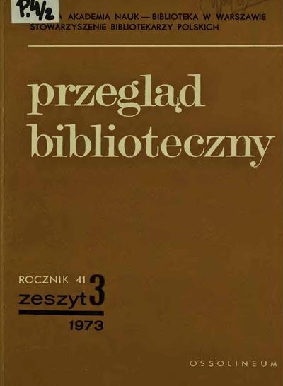 Okładka Przegląd Biblioteczny 1973, z. 3
