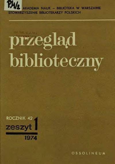 Okładka Przegląd Biblioteczny 1974, z. 1