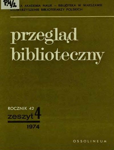 Okładka Przegląd Biblioteczny 1974, z. 4