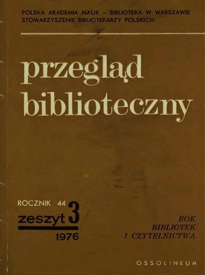 Okładka Przegląd Biblioteczny 1976, z. 3