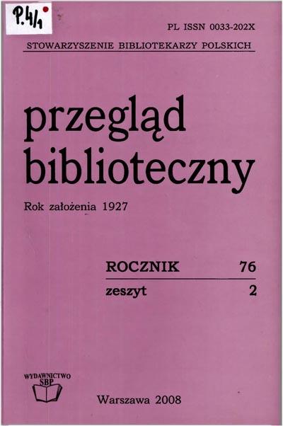 Przegląd Biblioteczny 2008, z. 2