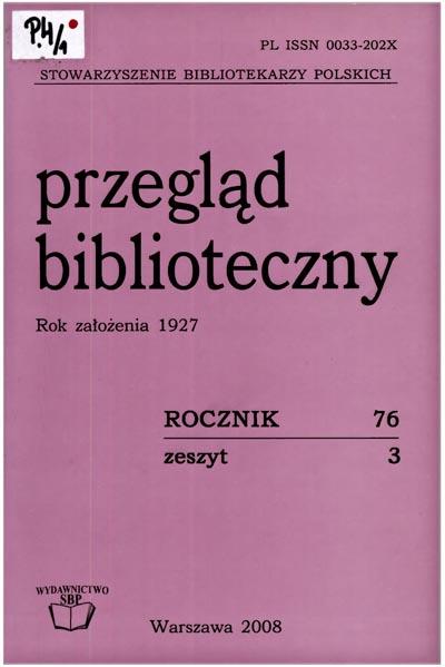 Okładka Przegląd Biblioteczny 2008, z. 3
