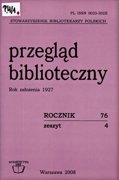 Okładka Przegląd Biblioteczny 2008, z. 4